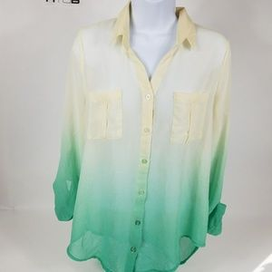 Blu Pepper Womens Top Size Large Sheer Ivory